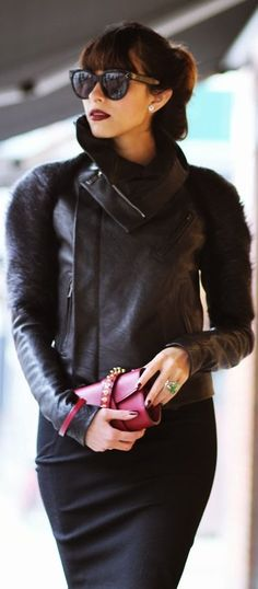 love this #leather + #fur #jacket, Ansh 46 by Preppy Fashionist