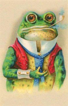 Pipe smokin' frog postcard...