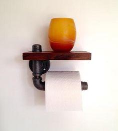 Reclaimed Wood & Pipe Toilet Paper Holder