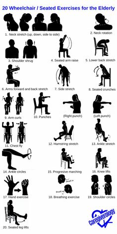 20 Wheelchair / Seated Exercises for the Elderly - Caregiverology Nursing Home Activities, Elderly Activities, Senior Activities, Work Activities, Therapy Activities, Cognitive Activities, Sitting Down Exercises, Alzheimers Activities, Physical Therapy Exercises