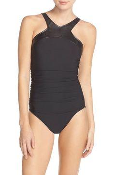 Magicsuit® 'Bonnie' Faux Leather Neck One-Piece Swimsuit available at #Nordstrom