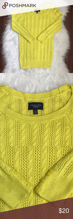 "AE Yellow Scoop Neck Cable Knit 3/4 Sleeve Sweater Excellent used condition. No flaws. Made from 55% cotton, 25% acrylic, 15% nylon, and 5% wool. Measures 15"" across from armpit to armpit and 23"" long. American Eagle Outfitters Sweaters Crew & Scoop Necks"