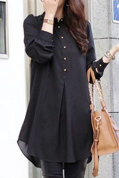 Stylish Shirt Collar Loose-Fitting Lace Splicing Long Sleeve Blouse For Women - Cheapest and Latest women & men fashion site including categories such as dresses, shoes, bags and - Kurta Designs, Blouse Designs, Stylish Shirts, Stylish Dresses, Casual Dresses, Casual Shoes, Look Fashion, Hijab Fashion, Fashion Outfits