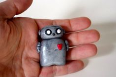 Robot Polymer Clay Miniature Sculpture Silver Polymer by Cyclop