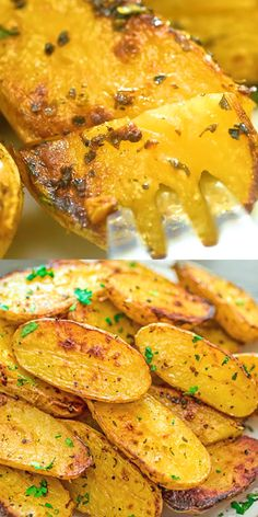 Made with oregano veggie broth garlic and lemon juice these Roasted Fingerling Potatoes are bursting with flavor They make a great side dish or a filling dinner Vegan fri. Side Dish Recipes, Vegetable Recipes, Vegetarian Recipes, Dinner Recipes, Cooking Recipes, Healthy Recipes, Vegetarian Appetizers, Oven Recipes, Veggie Food