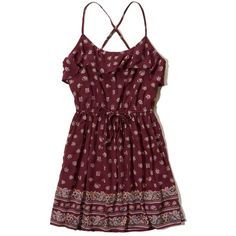 Hollister Ruffle Chiffon Easy Waist Dress ($50) ❤ liked on Polyvore featuring dresses, hollister, burgundy floral, floral print dress, burgundy red dress, floral dresses, burgundy dress and flower print dress