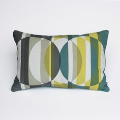 Oblong Cushion 'Splice B' Aly Storey Handprinted Textiles £65.00 Oblong limited edition print on linen made up into cushions, includes feather pad. Hand screen printed with four colours on one side. Using soft to the touch textile inks. Removable, zipped cushion cover. Weight: 1.3 kg Dimensions: 41 x 61 cm