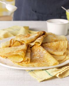 Crepes are fluffy and delicious – and these have a yummy sweet lemon filling. For convenience, make the crepes the day before and keep them chilled until you're ready to use them. Baking Recipes, Snack Recipes, Dessert Recipes, Snacks, Healthy Recipes, Breakfast Dishes, Breakfast Recipes, Crepe Recipes, Tiny Food