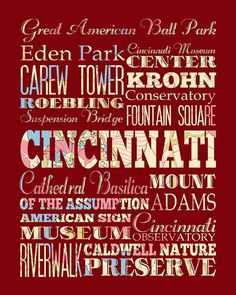Poster of things to see in Cincinnati while you are here on your internship or moving to the area for a new job!