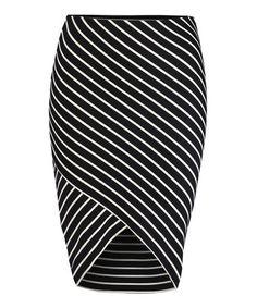Look at this #zulilyfind! Black & Ivory Stripe Skirt #zulilyfinds