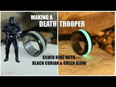 Making a Death Trooper Ring - Silver Ring With Green Glow & Black Corian (DIY)