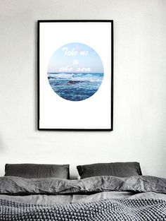 Take me to the sea print quote poster sea photography minimal wall art white and blue wall decor nautical decor scandinavian decor by S4StarSbySiSSy on Etsy