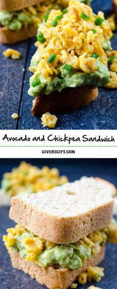 Avocado and chickpea sandwich is a wonderful vegan treat. Creamy avocado topped with spicy chickpeas in a sandwich.| giverecipe.com | #avocado #chickpeas