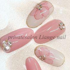 very pretty flower pink nail art Pink Nail Art, Flower Nail Art, Pink Nails, Water Color Nails, Nails 2017, Japanese Nail Art, Bridal Nails, Nail Decorations, Simple Nails