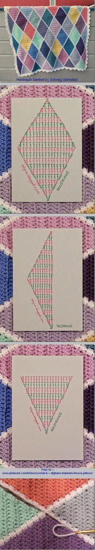 FREE PATTERN & tutorial : crochet diamonds blanket
