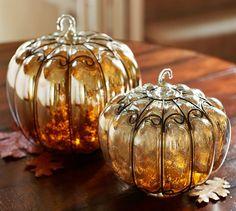 Mercury Glass & Wire Pumpkins | Pottery Barn