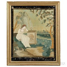 Watercolor and Needlework Memorial to Miss E.H.M. Clary and N.D.M. Clary    Skinner Auctioneers
