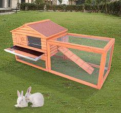62 Wooden Rabbit Hutch Chicken Coop House Bunny Hen Pet Animal Backyard Run