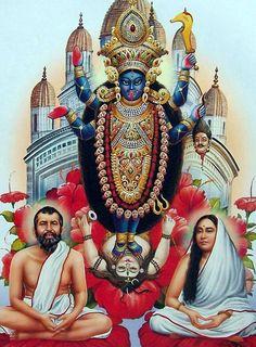 Ramakrishna Dev and Sarada Maa Sitting in Front of Goddess Kali - Hindu Posters (Reprint on Paper - Unframed) Kali Puja, Shiva Hindu, Durga Maa, Shiva Shakti, Hindu Deities, Hindu Art, Kali Mandir, Mother Kali, Divine Mother