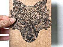 Postal con ilustración orginal de lobo - hecho a mano en DaWanda.es