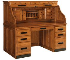 Amish Classic Deluxe Rolltop Desk with Optional Top Drawers The design of the old fashioned roll top desk is mastered with this Classic Deluxe model. Add the four slender drawers across the top for additional storage and style. Amish Furniture, Antique Furniture, Dovetail Furniture, Shaker Furniture, Pine Furniture, Woodworking Shop, Woodworking Plans, Woodworking Classes, Woodworking Videos