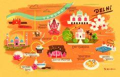 Cartoon Map of Delhi, India - Owen Gatley Delhi Map, Delhi India, Country Maps, Graphic Illustration, Map Illustrations, Travel Illustration, Map Design, City Maps, Globes