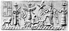Shamash, the sun god, rising in the morning from the eastern mountains between (left) Ishtar (Sumerian: Inanna), the goddess of the morning star, and (far left) Ninurta, the god of thunderstorms, with his bow and lion, and (right) Ea (Sumerian: Enki), the god of fresh water, with (far right) his vizier, the two-faced Usmu.  http://www.groomsdaypreppers.com/