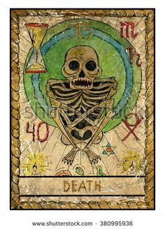 XIII. Death - The old tarot card by Vera Petruk . Scary human skeleton with candles and flower