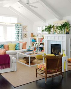 Surfer Chic House--1 Kind Design ~ Cute 60's-inspired beach house (note the color background in the built-ins)