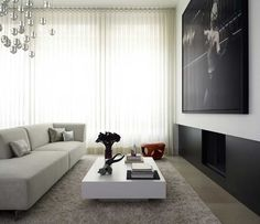 Ripplefold Drapery Contemporary Living Room