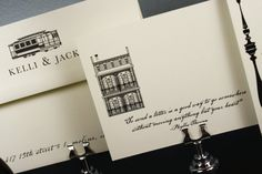 invitations with cable car and vintage townhouse