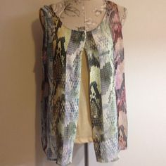 2 PC Liz Claiborne Sleeveless Top L Has different colors and snake skin pattern on sheer like material. Tan Cami underneath. 100% polyester. Liz Claiborne Tops