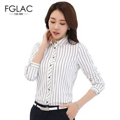 Promotion price FGLAC women blouses New 2017 Spring Fashion Casual long sleeved Striped chiffon shirt Elegant Slim female office work shirt just only $11.30 with free shipping worldwide  #womanblousesshirts Plese click on picture to see our special price for you
