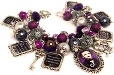 Charm Bracelet Edgar Allen Poe Quotes Literary Altered Art Silver Plated Writers Authors Gothic Poetry Books