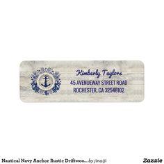 Nautical Navy Anchor Rustic Driftwood Beach Label