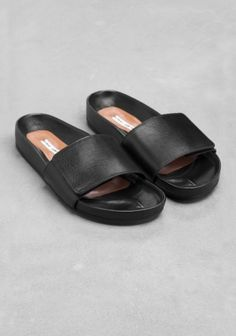 Leather Sandals, I like slides with stable heels that look flat like these, very hard to find