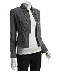 Cotton Button Detail Military Jacket in Dark Storm/Blue Grey (Willow and Clay)