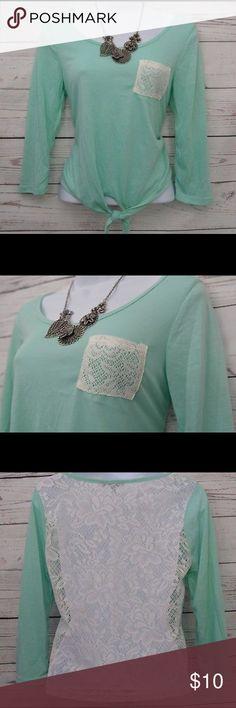 Mint Green Lace Crotchet Shirt Blouse w/ Pocket Mint green. Lace back & front pocket. Ties in the front. Size medium. Tops Blouses