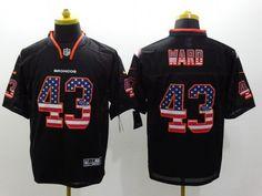 Nike Denver Broncos #43 T.J. Ward 2014 USA Flag Fashion Black Elite Jersey