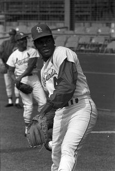 St. Louis Cardinals pitcher Bob Gibson at spring training. 1969