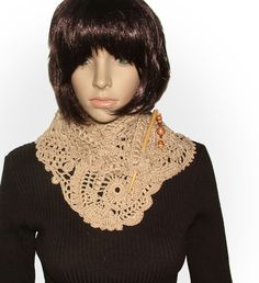 2 more... No Pattern, Freeform Crochet Lace Scarves....