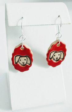 Yellow Labrador Dog Handmade Red Ceramic Glazed Earrings, Sterling Silver Dig Earrings, Red Dog Earrings, Yellow Dog Jewelry, Dog Earrings
