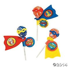 You and your guests can have a super day with this adorable Superhero sucker kit that includes a bag 10 ounce bag of assorted Tootsie Pop suckers with tiny masks and capes to attach in yellow, red, an