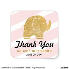 Faux Glitter Elephant Pink Thank You Stickers