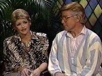 "Jan Hooks and Phil Hartman as Tammy Faye and Jim Bakker on ""Church Chat"" Oh the 80's!"