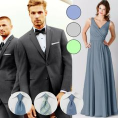Slate blue bridesmaids dresses are very popular right now, and are easy to mix with grey suits or tuxedos | Your Guide to Coordinating Groomsmen and Bridesmaids | Jim's Formal Wear suit | Kennedy Blue bridesmaid dress Anna in slate blue