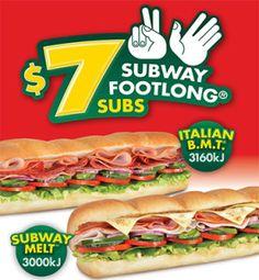 $7 Footlong Subs at Subway, on now!