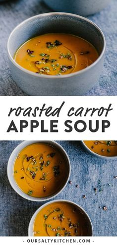 This roasted carrot apple soup is like a big hug - warm, comforting, and nourish. This roasted carrot apple soup is like a big hug – warm, comforting, and nourishing for the body Soup Appetizers, Thanksgiving Appetizers, Thanksgiving Recipes, Appetizer Recipes, Fall Soup Recipes, Healthy Soup Recipes, Whole Food Recipes, Vegetarian Recipes, Healthy Fall Soups