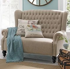 Settee - similar to the chair and a half we bought for the family room which we moved to the living room Elegant Sofa, Living Spaces, Living Room, My New Room, Furniture Decor, Love Seat, Family Room, New Homes, House Design