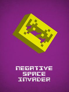 Negative Space Invader by Viktor Hertz Graphic Design Humor, Funny Design, Logo Design, 3d Design, Nerd Jokes, Geek Humor, Typo Poster, Letter Form, Space Invaders